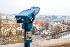 Binoculars for tourists to explore the city stock photos