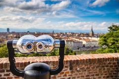 Binoculars and Turin city centre behind-Turin,Italy Stock Image