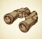 Binoculars. Vector drawing. Efficient hand rough metallic black binocular isolated on white background. Freehand outline ink hand drawn picture sketchy in retro Royalty Free Stock Photos