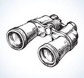 Binoculars. Vector drawing. Fashionable binoculars. Vector monochrome freehand ink drawn backdrop card sketchy in scrawl antiquity style of pen on paper. View stock illustration