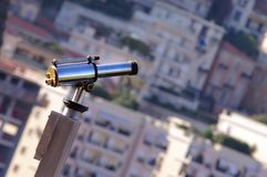 Binoculars view of city. Closeup of binoculars in Monaco, Monte Carlo Royalty Free Stock Image