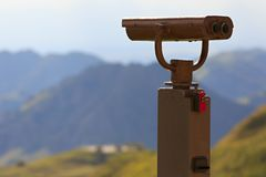 Binoculars on a viewing platform for observing flora, fauna. And landscape stock image