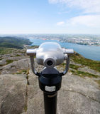 Binoculars - viewpoint on top of mountain. A set of binoculars situated on top of Dalsnuten in Rogaland, Norway royalty free stock photography