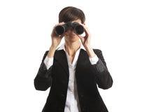 Binoculars. Woman with binoculars isolated on white Royalty Free Stock Photos