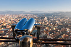 Binoculars with wonderful view of Florence, Italy Stock Images