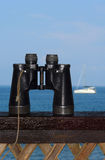 Binoculars and yacht Royalty Free Stock Photos