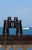 Binoculars and yacht royalty free stock photos