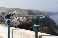 binokulär grekisk visning för ösantoriniteleskop Royaltyfri Bild
