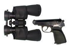 Binokular und Pistole pneumatisch Stockbild