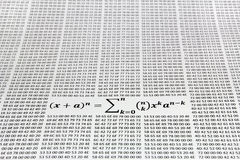 Binomial theorem. Against the hex codes printed on paper royalty free stock image