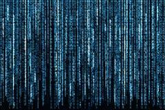 binär blå kod Arkivbild