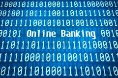 Binär kod med ordonline-bankrörelsena Royaltyfri Bild