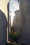 Bins. Double row of grain storage bins Royalty Free Stock Photos
