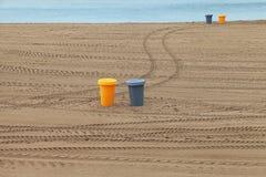 Bins on the beach. Royalty Free Stock Photo