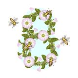 Bins and bees. The stylized wreath of flowers. stock illustration