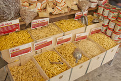 Bins of Dried Pasta in Greenwich Village Royalty Free Stock Photography