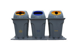 Bins Of Recycle White tbackground isolated. Royalty Free Stock Photos