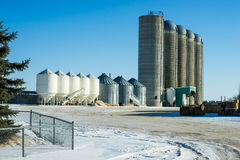 Bins and silos  on a farm yard Royalty Free Stock Photos