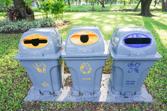 Bins of waste. Creative bins of waste sorting in the park stock image