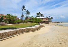 Bintan海岛,处于低潮中Trikora海滩全景,印度尼西亚 库存照片