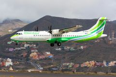 Binter Canarias aircraft at Tenerife. A Binter Canarias ATR 72 lands at Tenerife Norte Airport los Rodeos Royalty Free Stock Photos