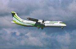 Binter Canarias ATR 72-500 on final for Miami International. Binter Canarias ATR 72-500  EC-KRY CN 2763 on final for Miami International Airport KMIA on January Royalty Free Stock Photos