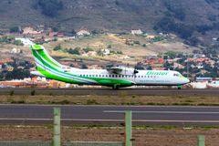 Binter Canarias aircraft at Tenerife. A Binter Canarias ATR 72 taxiing at Tenerife Norte Airport los Rodeos Royalty Free Stock Images