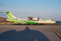 Binter Canarias ATR 72. TENERIFE SUR / CANARY ISLANDS, SPAIN - TENERIFE SUR / CANARY ISLANDS, SPAIN - APRIL 2016nA Binter Canarias ATR 72-212A (600), EC-MJG, cn Royalty Free Stock Image