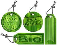 Bio étiquettes vertes - 4 éléments Images stock