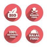 Bio ícones naturais do alimento Sinais Halal e kosher Fotografia de Stock