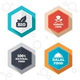 Bio ícones naturais do alimento Sinais Halal e kosher Imagem de Stock