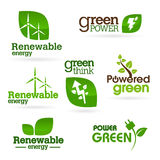 Bio- Ökologie - Grün - Energieikonensatz Stockfotografie