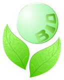 Bio. Vector illustration depicting two leaves around a sphere on which is written Bio Stock Photo
