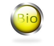 Bio. Green button with chrome frame over white background Royalty Free Stock Photography