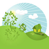 Bio. Illustration, landscape tree, house, and bio car Stock Images