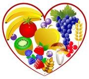 Bio alimento, coração saudável ilustração royalty free