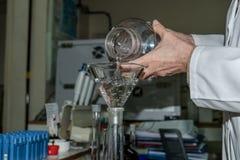 Bio analista Handling Lab Equipment do laboratório fotos de stock