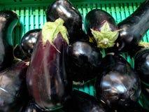 Bio aubergines Photo stock