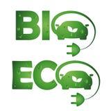 Bio- automobili di eco di simboli Fotografie Stock Libere da Diritti