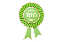 100% bio award, prize, medal or badge with ribbons. 3D rendering. Isolated on white background stock illustration