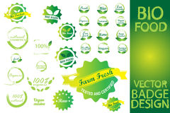 Bio Badge Food Logo Set Stock Images