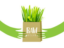 Bio bag with green grass and hands Royalty Free Stock Photo