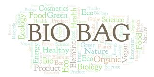 Bio Bag word cloud. Wordcloud made with text only vector illustration