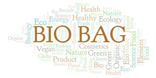 Bio Bag word cloud. Wordcloud made with text only stock illustration