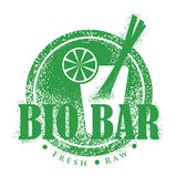 Bio Bar Design. Vegetarian Vintage Menu Stamp. Fresh, Vegan Distressed Round Label Royalty Free Stock Images