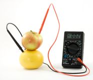 Bio battery. Measuring voltage in fruit Stock Images