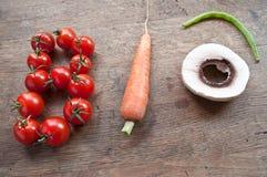 Bio bilda för ord med grönsaker royaltyfri foto