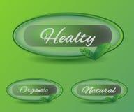 Bio botões naturais redondos dos ícones Fotografia de Stock Royalty Free