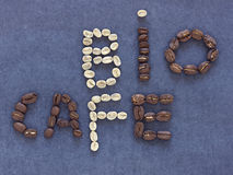 Bio caf  written with coffee beans Royalty Free Stock Images