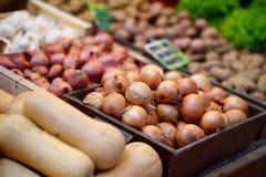 Bio cebolla fresca en mercado del granjero en Estrasburgo, Francia Imágenes de archivo libres de regalías